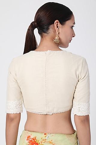 White Crochet Lace Blouse by Pranay Baidya