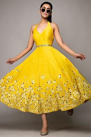 Yellow Embroidered Midi Dress by Prevasu