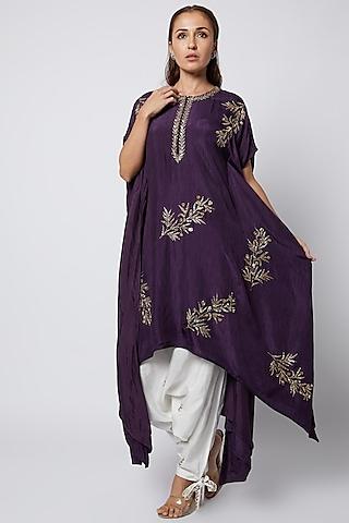 Purple Embroidered Kaftan Kurta Set by Prathyusha Garimella