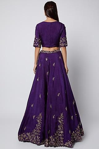 Purple Embroidered Kurta Set by Prathyusha Garimella