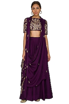 Purple Embroidered Draped Cowl Crop Top With Skirt by Prathyusha Garimella