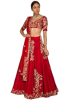 Red Embroidered Lehenga Set by Prathyusha Garimella