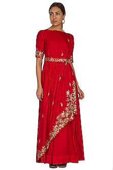Red Embroidered Draped Anarkali by Prathyusha Garimella