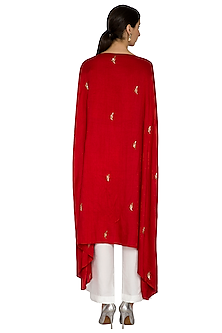 Red Embroidered Cape With Palazzo Pants by Prathyusha Garimella