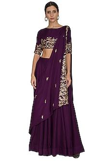 Purple Embroidered Draped Lehenga Skirt by Prathyusha Garimella