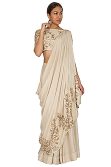 Champagne Gold Draped Saree With Skirt by Prathyusha Garimella