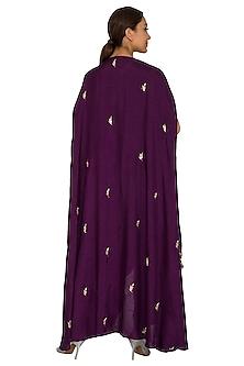 Purple Embroidered Layered Cape With Crop Top & Palazzo Pants by Prathyusha Garimella