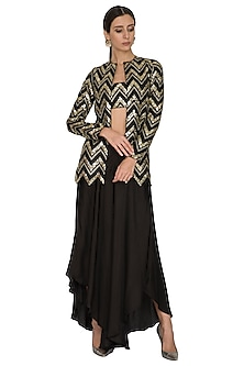 Black Embroidered Jacket With Crop Top & Palazzo Pants by Prathyusha Garimella