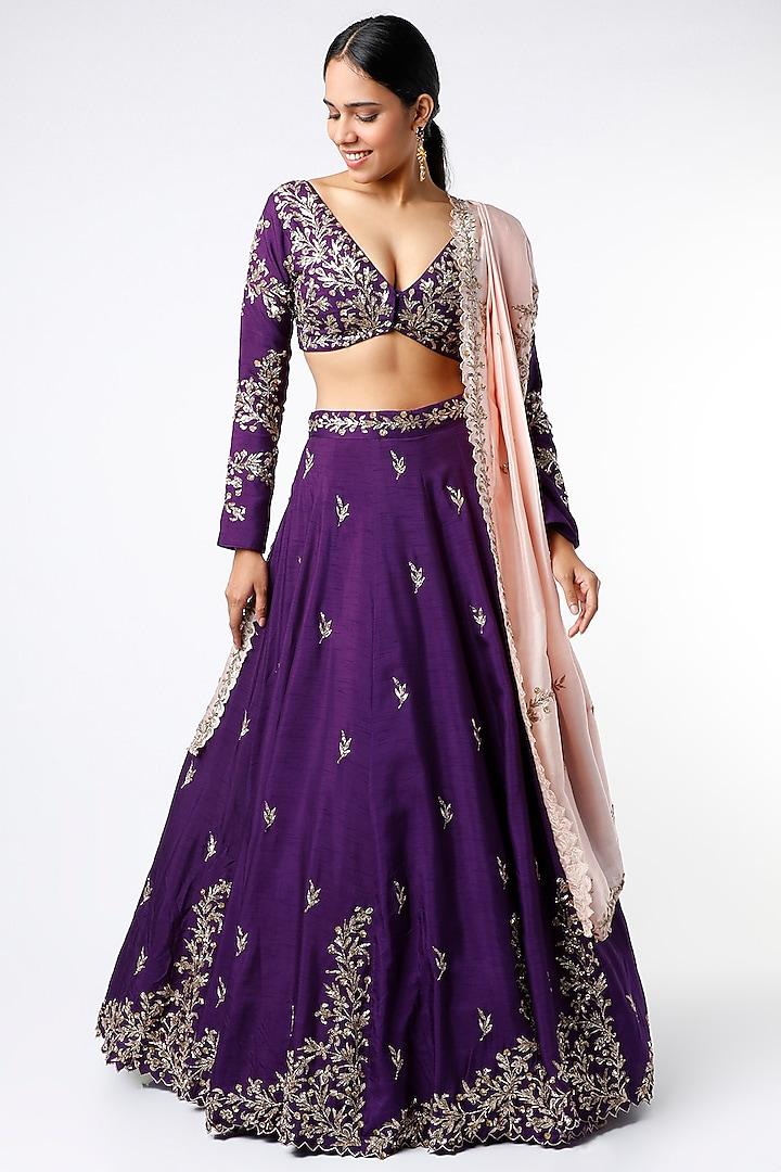Purple Zari Embroidered Lehenga Set by Prathyusha Garimella