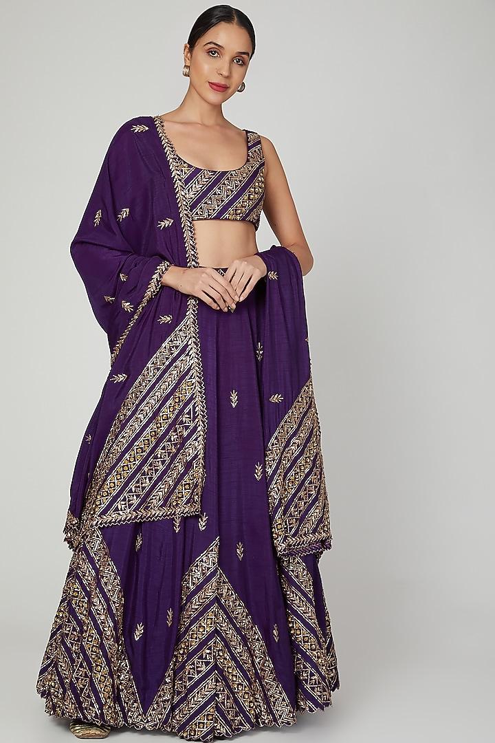 Purple Embroidered Lehenga Set by Prathyusha Garimella