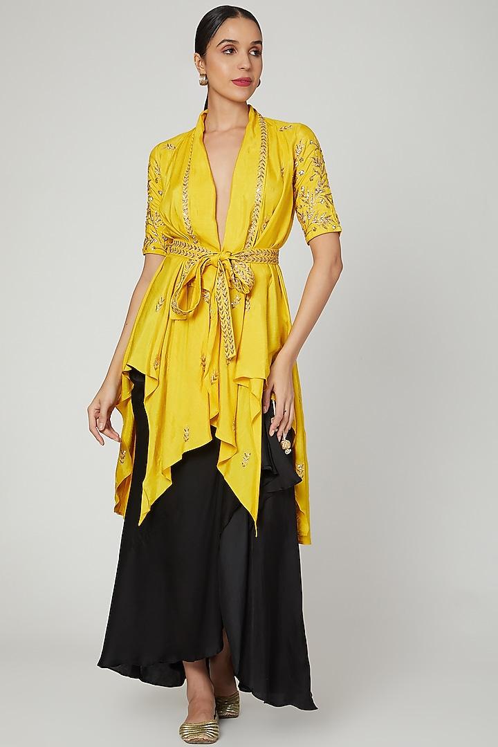 Mustard Embroidered Jacket Set by Prathyusha Garimella