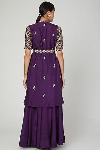 Purple Embroidered Jacket Lehenga Set by Prathyusha Garimella