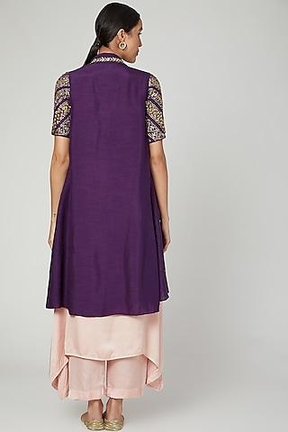 Purple Embroidered Jacket Set by Prathyusha Garimella