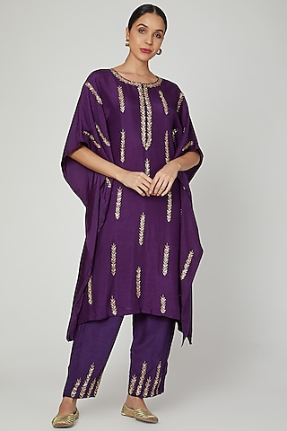 Purple Embroidered Kaftan With Palazzo Pants by Prathyusha Garimella