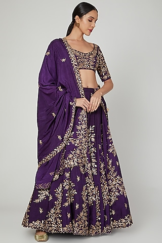 Purple Zardosi Embroidered Lehenga Set by Prathyusha Garimella