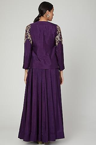 Purple Zardosi Embroidered Jacket Lehenga Set by Prathyusha Garimella