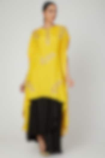 Mustard & Black Embroidered Skirt Set by Prathyusha Garimella