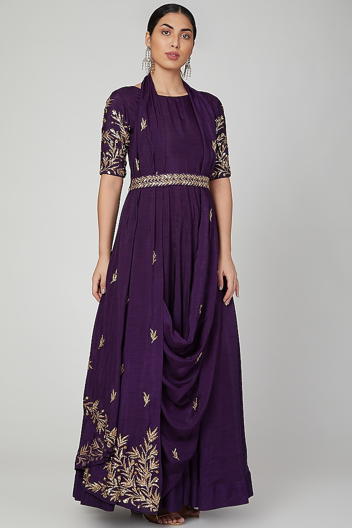 Purple Embroidered Draped Anarkali With Belt by Prathyusha Garimella