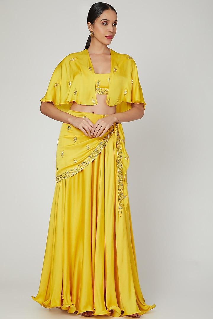 Mustard Embroidered Skirt Set by Prathyusha Garimella