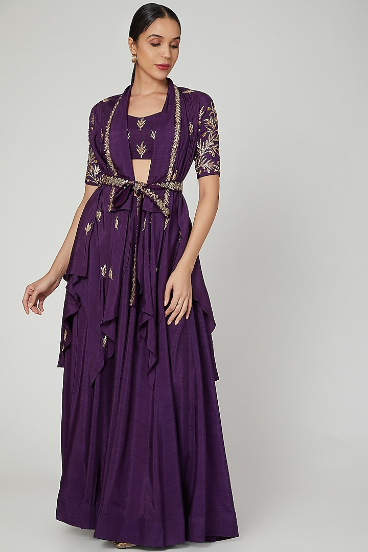 Purple Embroidered Wrap Jacket Set by Prathyusha Garimella