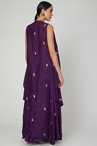 Purple Embroidered Cape Lehenga Set by Prathyusha Garimella