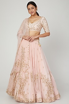 Peach Embroidered Lehenga Set by Prathyusha Garimella