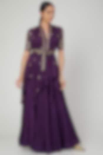 Purple Embroidered Wrap Jacket Lehenga Set by Prathyusha Garimella
