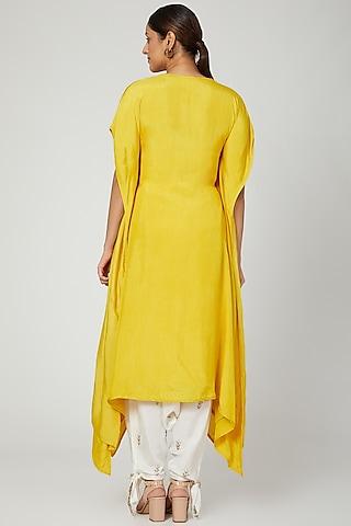 Mustard Embroidered Kaftan With Ivory Dhoti Pants by Prathyusha Garimella