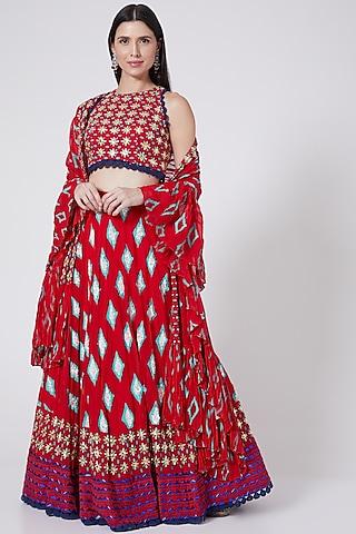 Red Printed & Hand Embroidered Lehenga Set by POOJA RAJGARHIA GUPTA