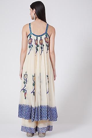 Off White Printed & Hand Embroidered Anarkali Set by POOJA RAJGARHIA GUPTA