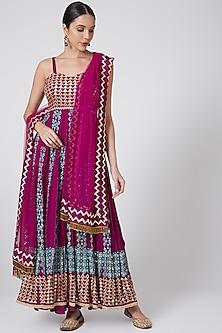 Purple Embroidered Anarkali Set by POOJA RAJGARHIA GUPTA