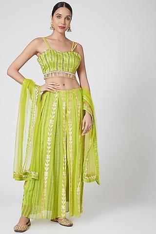 Lime Embroidered Pant Set With Drape by POOJA RAJGARHIA GUPTA