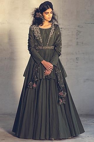 Olive Green Embroidered Anarkali Set With Belt by Parul & Preyanka