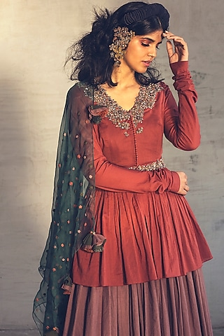 Rust Brown Embroidered Jacket Set With Dupatta by Parul & Preyanka
