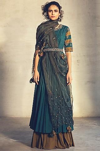 Teal Green Embroidered Anarkali Set by Parul & Preyanka