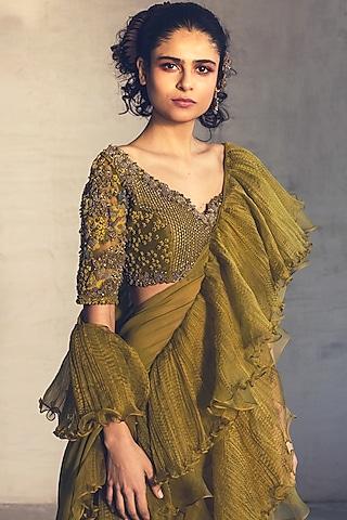 Ocado Green Embroidered Pre-Stitched Saree Set by Parul & Preyanka