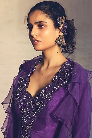 Purple Embroidered Anarkali With Cape by Parul & Preyanka