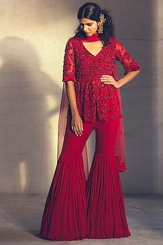 Red Embroidered Sharara Set by Parul & Preyanka