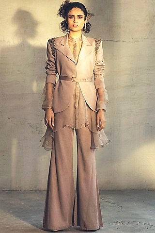 Dirty Pink Embroidered Pant Set With Jacket by Parul & Preyanka