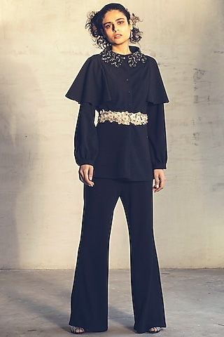 Black Embroidered Flared Pant Set by Parul & Preyanka