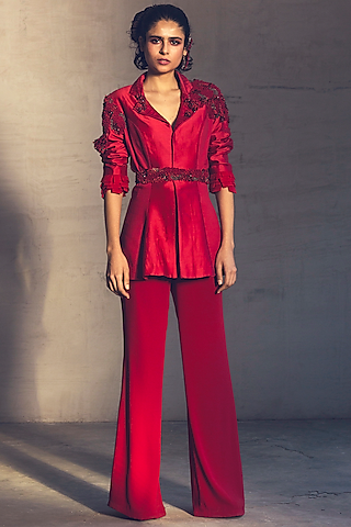 Red Embroidered Pant Set by Parul & Preyanka