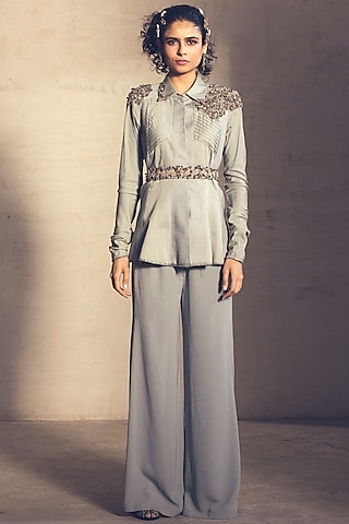 Pale Blue Embroidered Pant Set With Belt by Parul & Preyanka