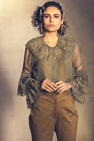 Mustard Green Embroidered Shirt With Inner by Parul & Preyanka