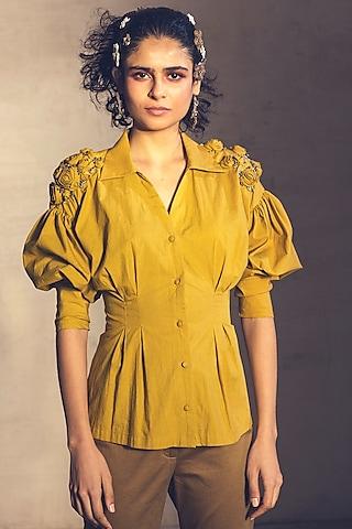 Mustard Yellow Embroidered Shirt by Parul & Preyanka