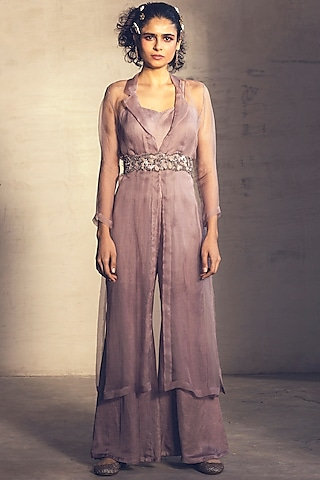 Lilac Purple Embroidered Jumpsuit With Trench Jacket & Belt by Parul & Preyanka