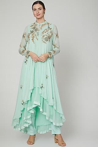 Mint Green Embroidered Anarkali Set by PREETI JHAWAR