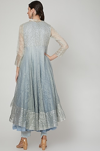 Blue Ombre Embroidered Anarkali Set by PREETI JHAWAR