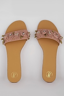 Peach Embroidered Slip-on Flats by Preet Kaur
