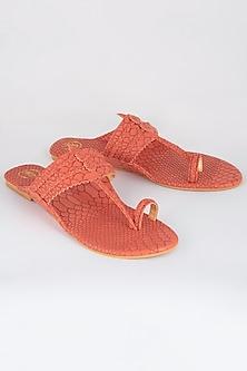 Peach Hand Braided Textured Kolhapuris by Preet Kaur