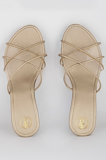 Golden Wedges With Transparent Cross Straps by Preet Kaur